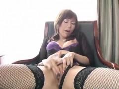Miki Yamashiro In Stockings Fingers Her Wet And Dark Fish