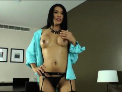 Sultry Ladyboy Fanta Jerks Off And Unloads Lots Of Cum