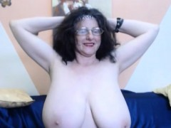 Granny With Huge Tits Shows Off