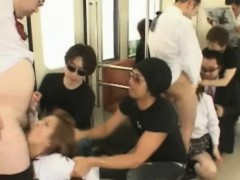 Coeds Face Fucked By Pervs In A Train!