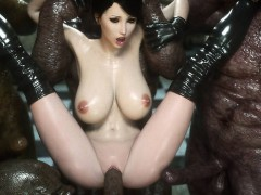 3d Babe Destroyed By A Group Of Mutants!