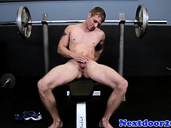 Tattooed Muscular Stud Tugging His Dick