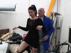 Tight Brunette Slut Gets Her Ass Fucked In Garage