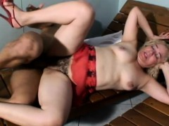 Chubby Mature With A Big Bush Gets It Pumped Hard By A Black Bone