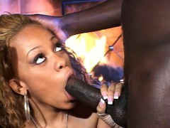 Enticing Ebony Beauty Goes Wild For A Huge Black Dick By The Fireplace