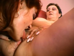 Hot Redheaded Woman Lets This Short haired Lesbian Suck On Her Clit