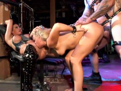 mistress has two slaves and they both blow and fuck a bdsm slave
