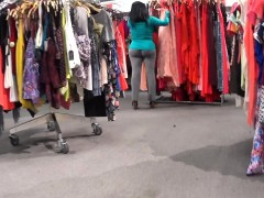 sensual-babe-in-gray-pants-walks-around-the-store-jiggling