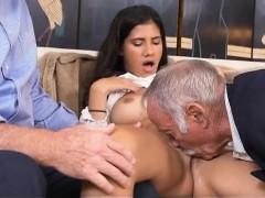 Brunette Vicotira Valencia Oral Threesome With Old Men