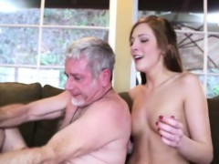 Pretty Teen Babe Gets Nailed By Old Geezer On The Couch