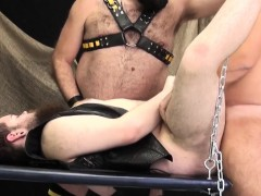 Chubby Bear Barebacked In Hoist Threeway