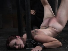 tit-bondage-slave-gagging-on-a-big-dildo