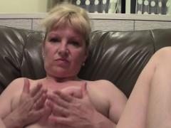 Older Senorita Exposes Her Freshly Shaved Beaver