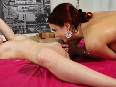 Two beautiful women massage each others yummy pussies