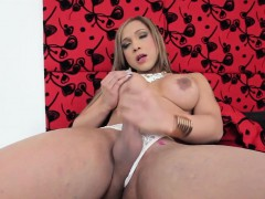 Masturbating Tgirl Working Her Throbbing Cock