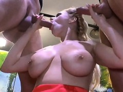 cumshots on massive boobs with bukkakes