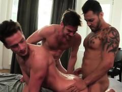 Tattoo Gays Threesome With Cumshot