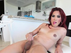 Shemale Jerking Solo In Kitchen