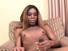 Inked Black Trans Spreads Ass And Jerks Solo