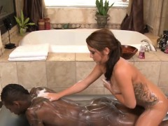 Brunette Masseuse Riding Black Cock In Shower