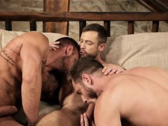 Muscle Gay Threesome And Creampie