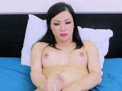 Asian Tranny Jerking Her Cock And Spreads Ass