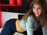 Beautiful brunette striptease