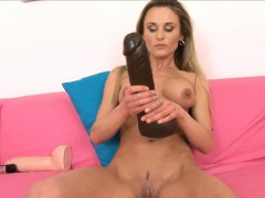 sweet laura crystal gapes her vagina with a brutal dildo