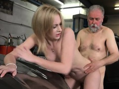 Bewitching Young Chick Takes Old Nasty Wang In Her Face Hole