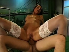 MILF Celine double penetrated and Cum Covered