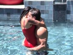 Dana Vespoli ogles her pool boy, Johnny Castle, before