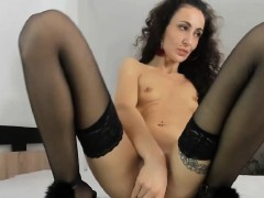 hottest-brunette-chick-fucked-her-round-ass-with-a-dildo