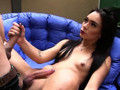 Small Tits Shemale Hann Rios Gets Barebacked Well