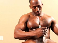 Ripped Ebony Hunk Teasing Before Masturbating