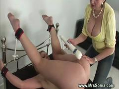 mistress-playing-with-blonds-pussy