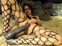 hottie-wearing-glasses-with-two-large-dildos
