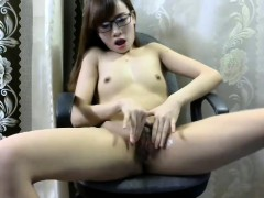 Amateur Asian Hairy Teen Toying And Fingering