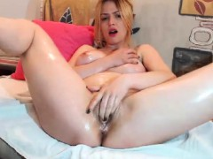 Tall Skinny Blonde Striptease Masturbation