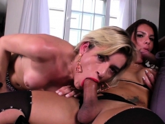 Busty Tgirl Cums While Riding Dick In Trio