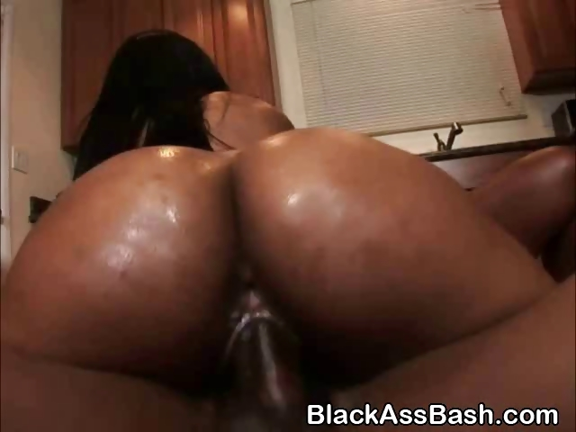 Ebony Fat Ass Bouncing Dildo