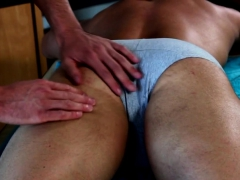 Hunky Masseur Wanks Cum While Ass Fucked