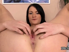 Fervid Nympho Is Gaping Slim Twat In Close up And Having Org