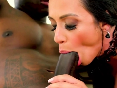 Milf gags on black cock