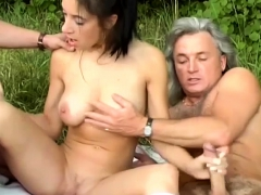 cute woman picked up for outdoor orgy