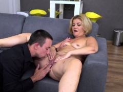 Small titted blonde MILF and her young lover