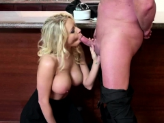 Erik Cums On Her Managers Huge Tits