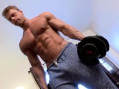 Stud Lifting Weights And Masturbates
