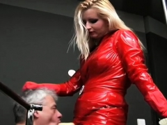 Dominatrix humiliates and makes bondman suck her fake ramrod