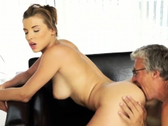 Young Brunette Licks Old Man And Fucks Him Xxx Sex With