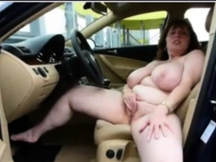 German Big Boobs Mature Masturbate On Car